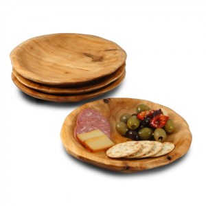 Root Wood Round Plate - Set of 2