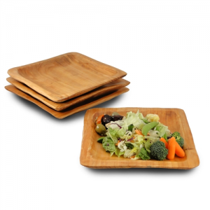 Root Wood Square Plate - Set of 2