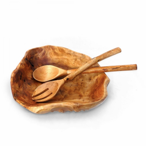 Large Root Wood Salad Bowl with Servers