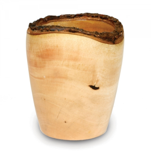 Mango Wood Utensil Vase - Bark Rim