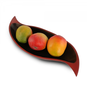 Mango Wood Curry Leaf Tray - Brick Red