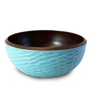 Turquoise Mango Wood Serving Bowl