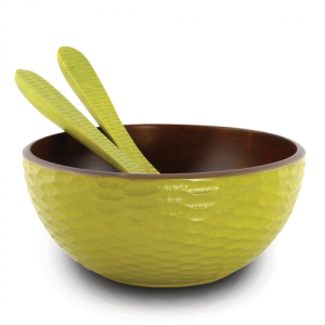 Avocado Mango Wood Serving Bowl and Servers