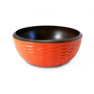 Tangerine Orange Mango Wood Serving Bowl