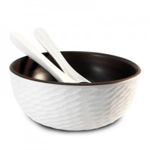 Bright White Mango Wood Serving Bowl and Servers