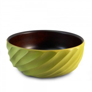 Avocado Mango Wood Spiral Serving Bowl