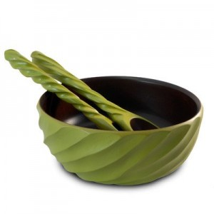 Avocado Mango Wood Spiral Serving Bowl and Servers