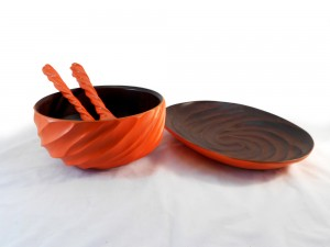 Mango Wood Tangerine Orange Dining Set
