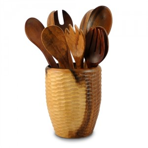Natural Mango Wood Utensil Vase