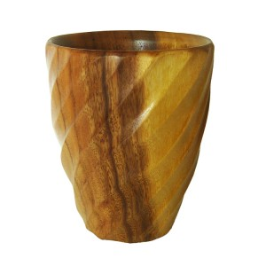 Natural Acacia Wood Spiral Utensil Vase