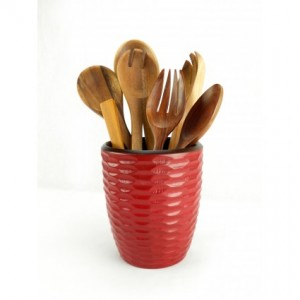 Brick Mango Wood Utensil Vase