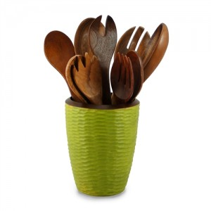 Avocado Mango Wood Utensil Vase