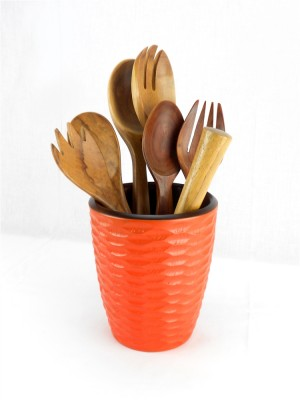 Tangerine Orange Mango Wood Utensil Vase