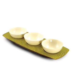 Avocado Mango Wood 3 Bowl Server
