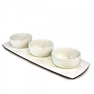 Bright White Mango Wood 3 Bowl Server