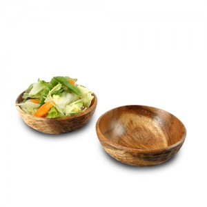 Natural Acacia Wood Side Salad Bowl - Set of 2