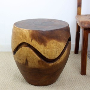 Barrel Puzzle Drum End Table - Walnut