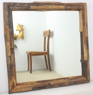 "Square Teak Wood Branch Mirror 30"" x 30"""