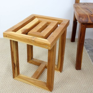Teak Wood Maze Spa Stool