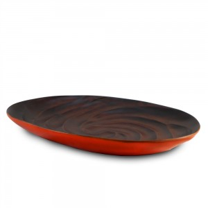 Tangerine Orange Mango Wood Spiral Serving Platter
