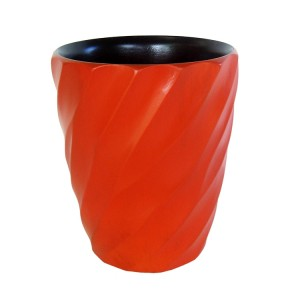 Tangerine Orange Mango Wood Spiral Utensil Vase