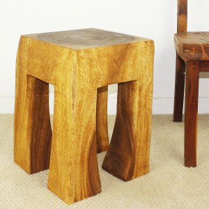 Acacia Block Wood End Table