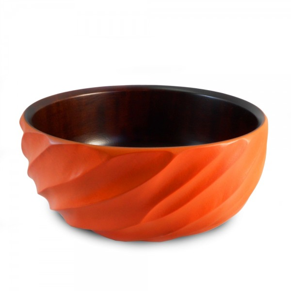 Tangerine Orange Mango Wood Spiral Serving Bowl and Servers
