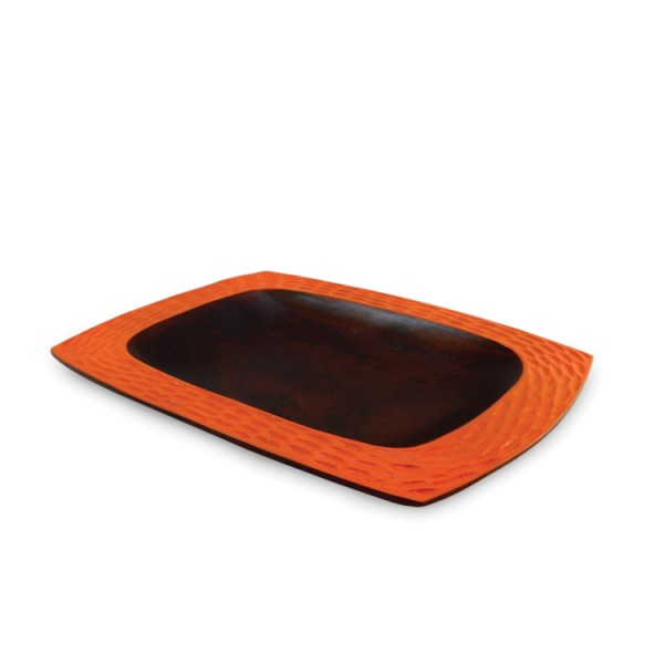 Mango Wood Tangerine Orange Honeycomb Platter