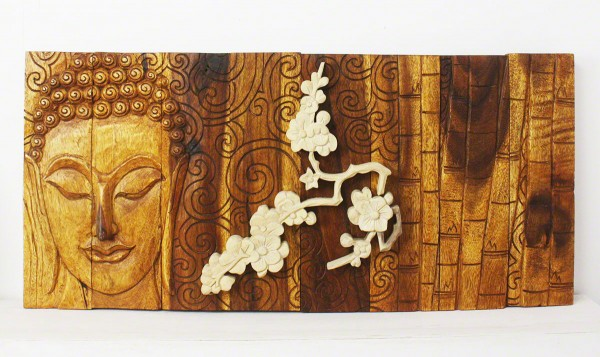 Bamboo Wood Wall Decor : Buddha bamboo and flower wood wall panel natural