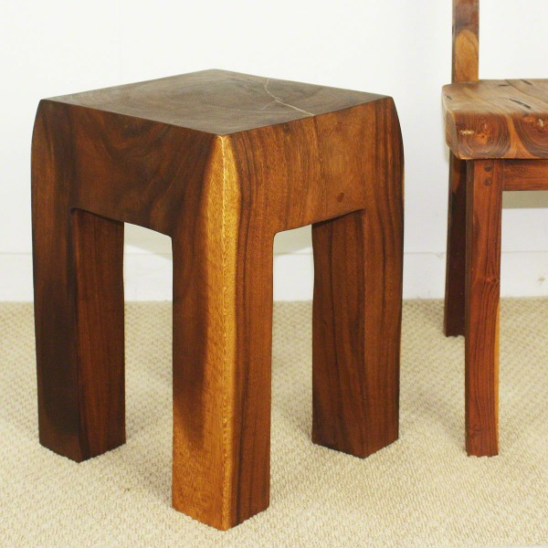 Block Wood End Table Walnut Natural Wood Decor