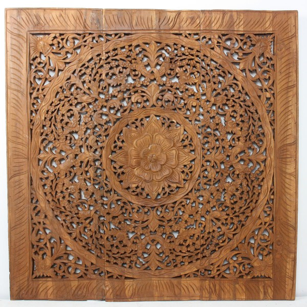 Lotus Flower Inlay Wood Wall Panel 36 Quot X 36 Quot Natural
