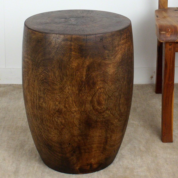 Merlot Mango Wood Drum End Table