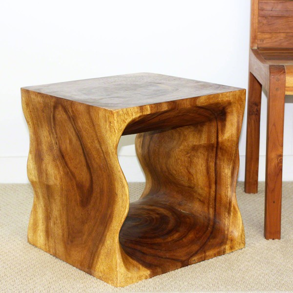 "21 Most Unique Wood Home Decor Ideas: 16"" Natural Wood Cube End Table"