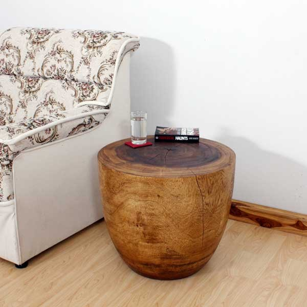 Incroyable Oval Wood Drum End Table