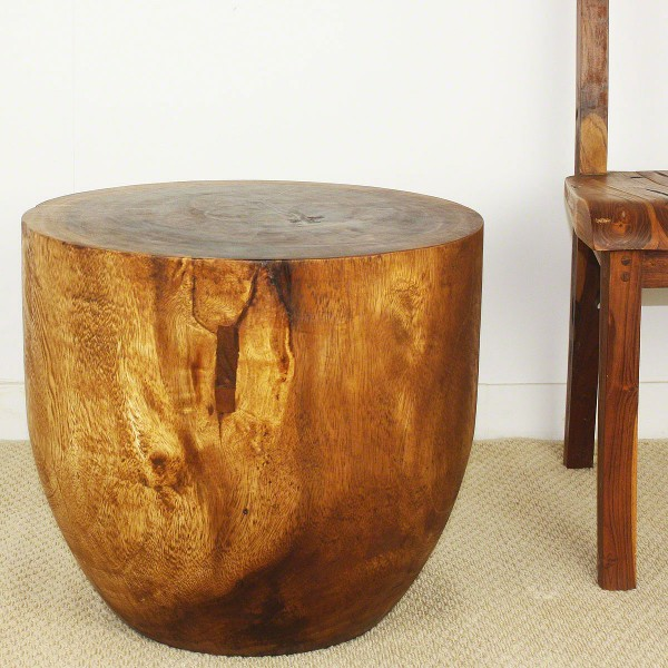 Oval Wood Drum End Table Natural Wood Decor