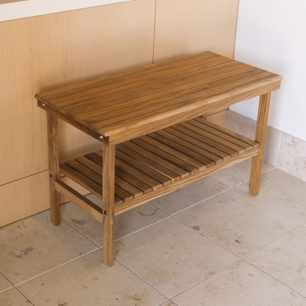Teak Shower Bench With Shelf Natural Wood Decor