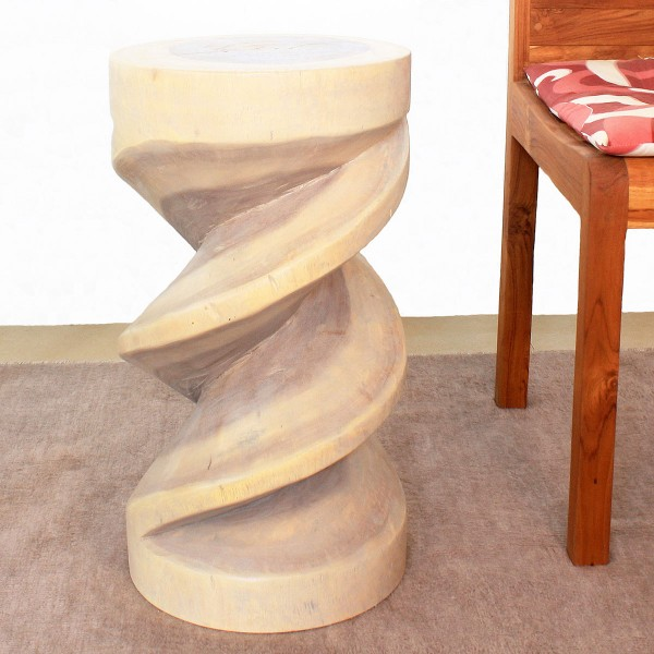 22 Quot X 12 Quot Spiral Twisted Wood Stool Natural Wood Decor