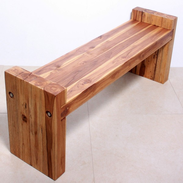 19 X 48 Teak Wood Block Bench Natural Wood Decor