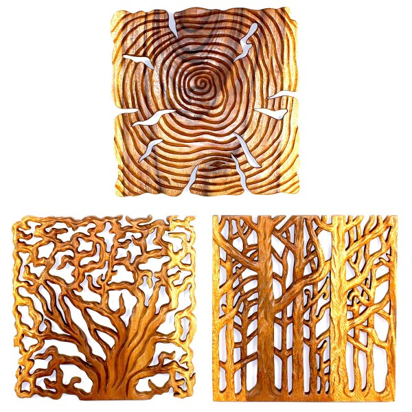 Set Of 3 Tree Of Life Wall Panels 18 X 18 Each
