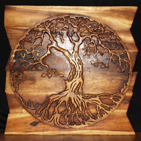 Tree Of Life Round On Uneven Boards Natural Wood Decor