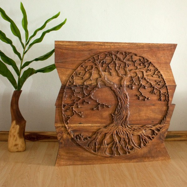 Round Wood Wall Art tree of life round on uneven boards - natural wood decor