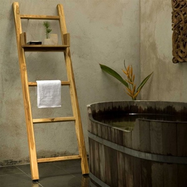 Fantastic Teak Towel Ladder With Adjustable Shelf Interior Design Ideas Truasarkarijobsexamcom