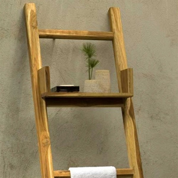 Teak Towel Ladder with Adjustable Shelf