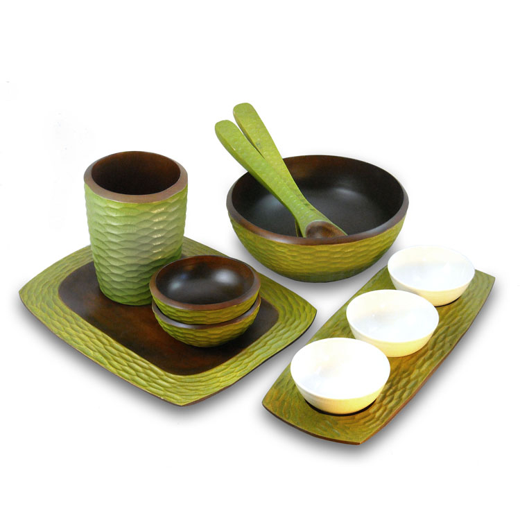 Avocado Mango Wood Honeycomb Kitchen Set