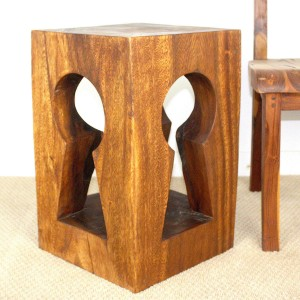 "22"" x 14"" x 14"" Keyhole Cut-Out Wood End Table"