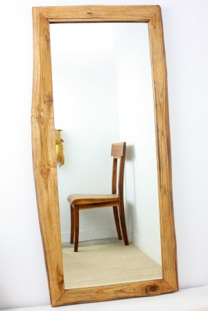 "Teak Wood Mirror - Rectangle - 48"" x 22""  - Walnut"