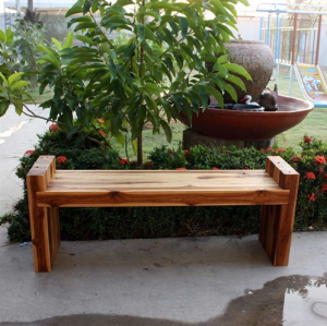 "19"" x 48"" Teak Wood Block Bench"