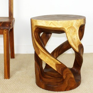 "20"" x 16"" Round Wildly Twisted Vine Tapered Wood Stool - Walnut"