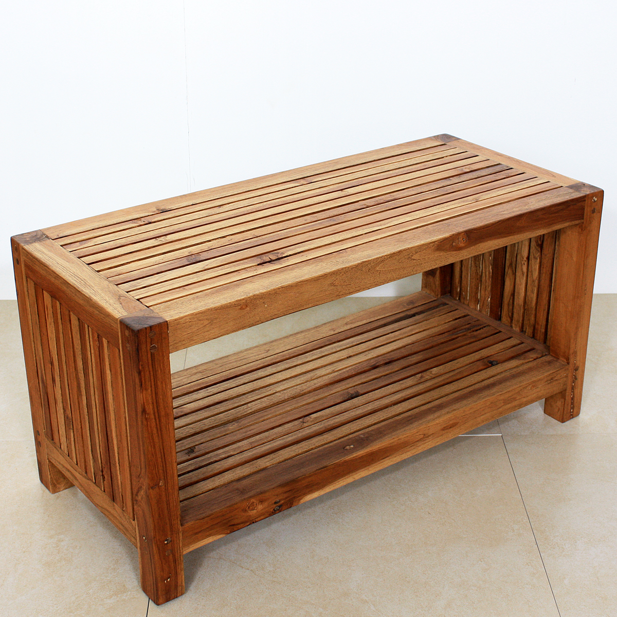Teak Slat Coffee Table with Shelf